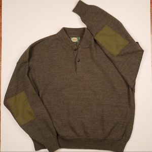 Cabelas men's XL olive wool elbow patch sweater
